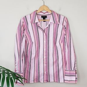 Lane Bryant | Pink Striped Button Up Shirt